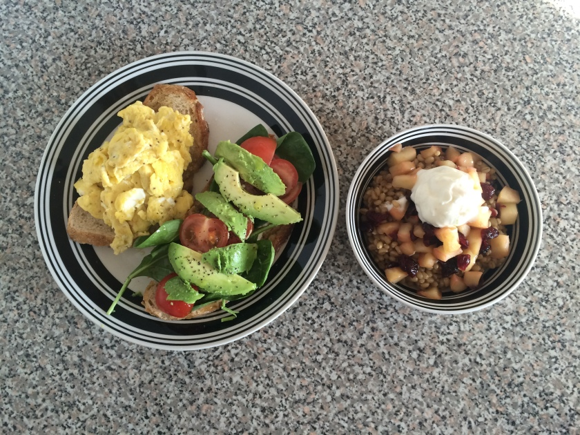 On the right: wheat berries with stewed apples, cranberries and a dollop of plain yogurt.