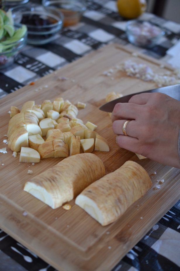 Perfecting knife skills with some parsnip